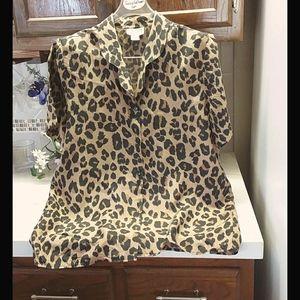 Silk Animal Print Short Sleeve Blouse